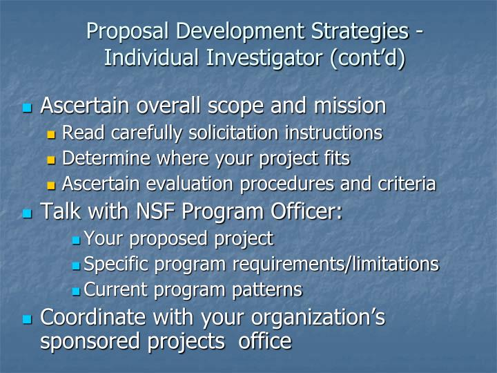 Proposal Development Strategies - Individual Investigator (cont'd)