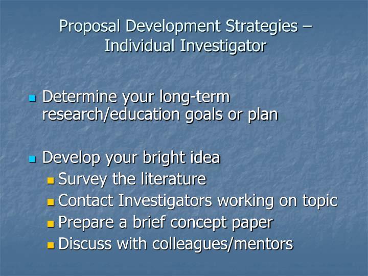 Proposal Development Strategies –