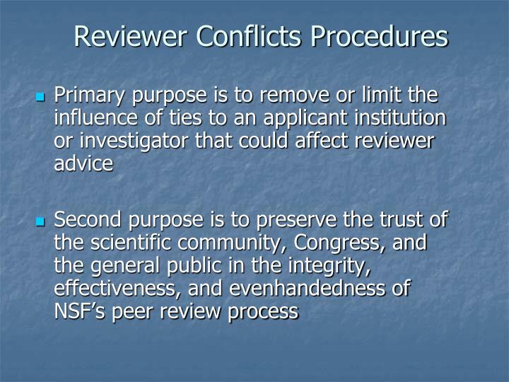 Reviewer Conflicts Procedures
