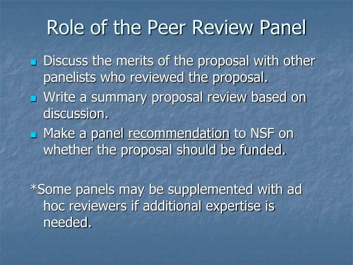 Role of the Peer Review Panel