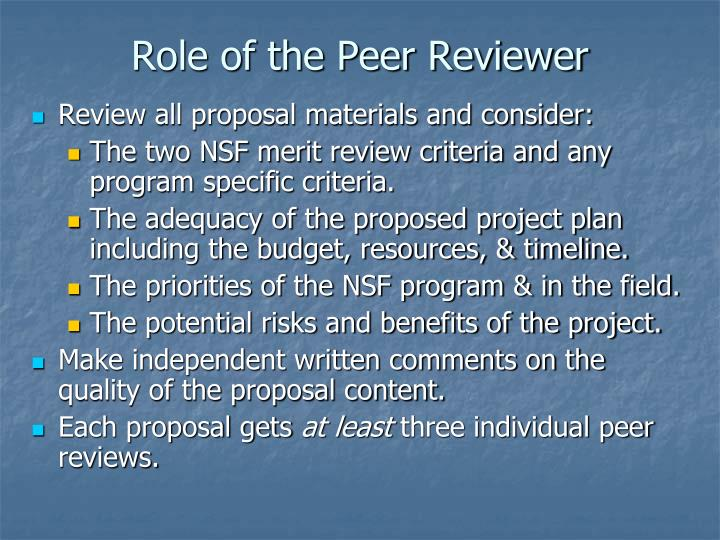 Role of the Peer Reviewer