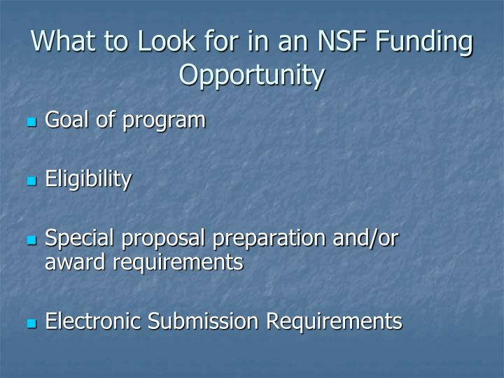 What to look for in an nsf funding opportunity