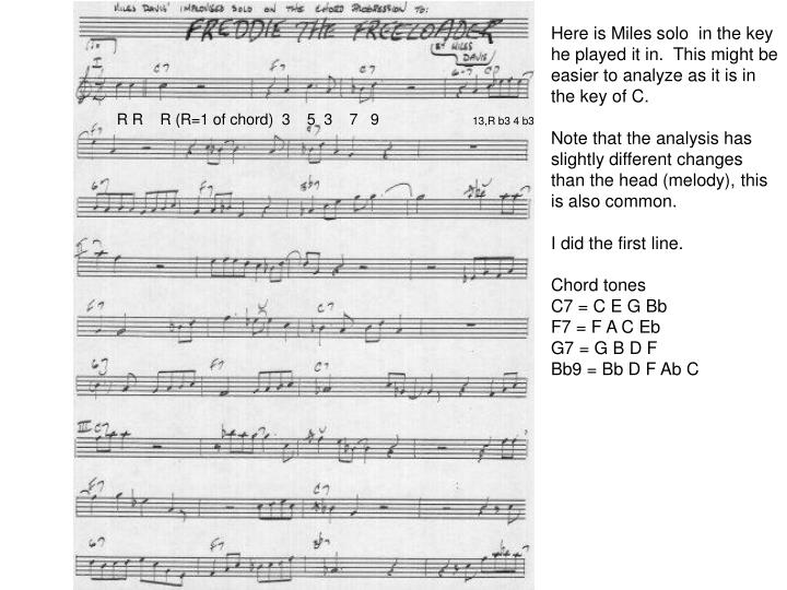 Here is Miles solo  in the key he played it in.  This might be easier to analyze as it is in the key of C.