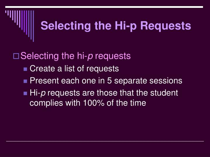 Selecting the Hi-p Requests