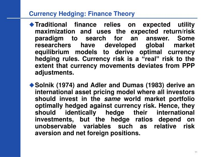 Currency Hedging: Finance Theory
