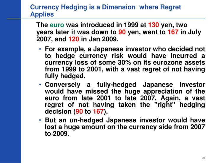 Currency Hedging is a Dimension  where Regret Applies
