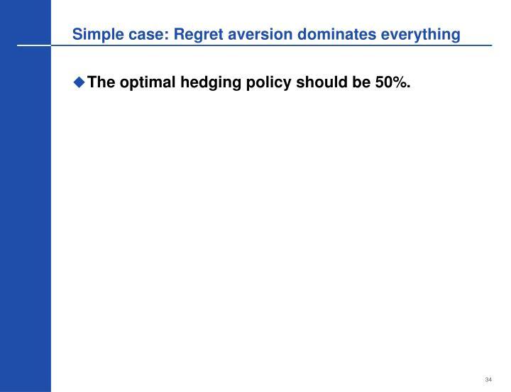 Simple case: Regret aversion dominates everything