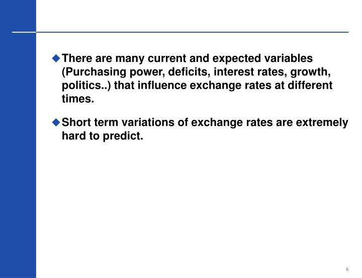 There are many current and expected variables (Purchasing power, deficits, interest rates, growth, politics..) that influence exchange rates at different times.