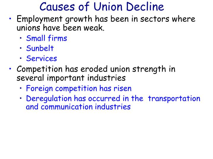 Causes of Union Decline