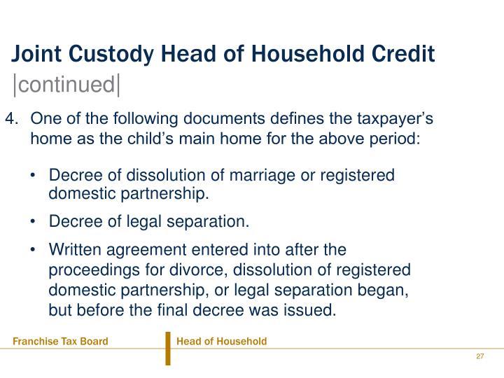 Joint Custody Head of Household Credit