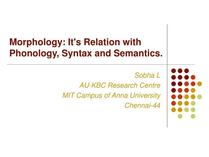 morphology it s relation with phonology syntax and semantics n.