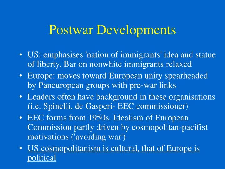 Postwar Developments