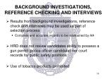 background investigations reference checking and interviews