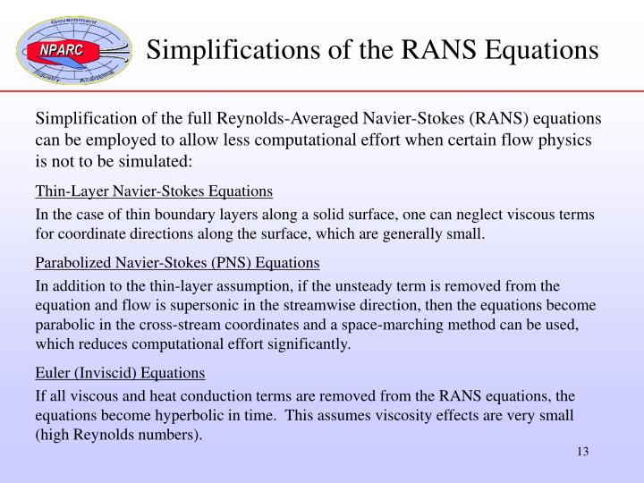 Simplifications of the RANS Equations