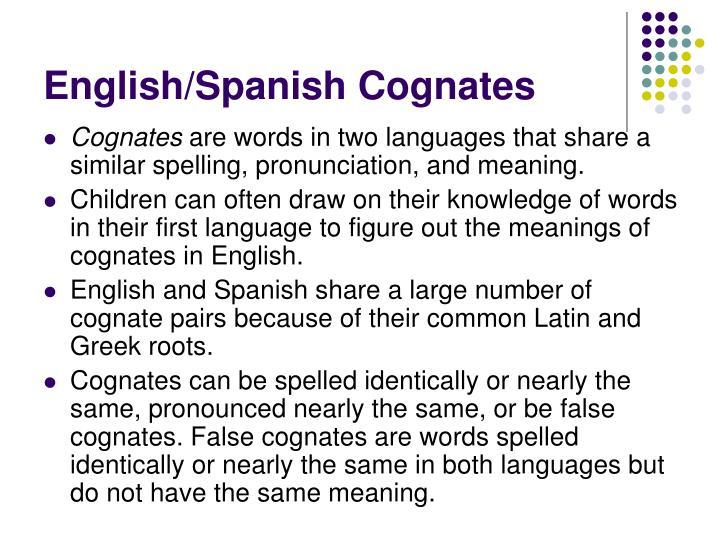 English/Spanish Cognates