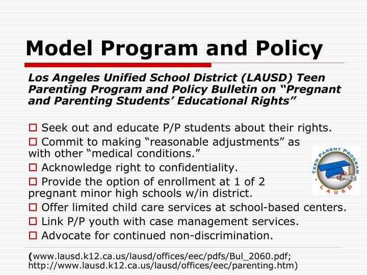 Model Program and Policy