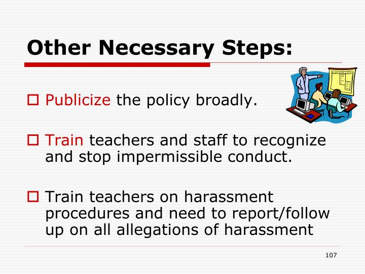 Other Necessary Steps: