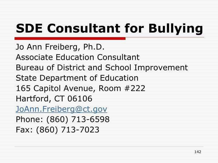 SDE Consultant for Bullying