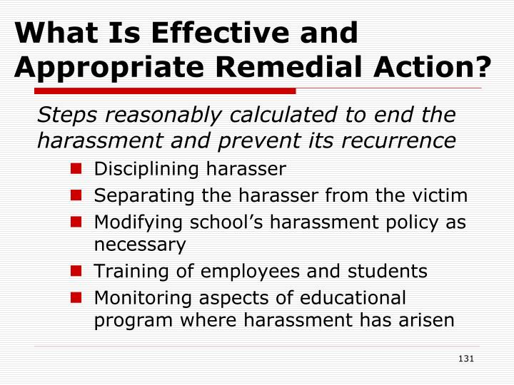 What Is Effective and Appropriate Remedial Action?