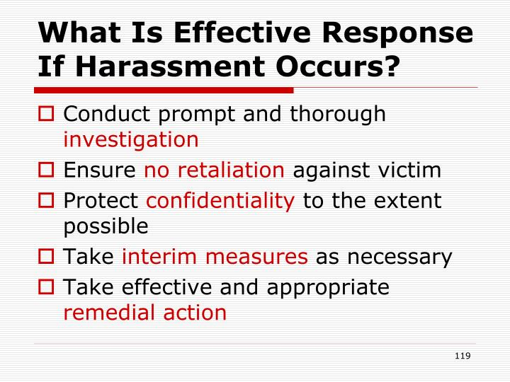 What Is Effective Response If Harassment Occurs?