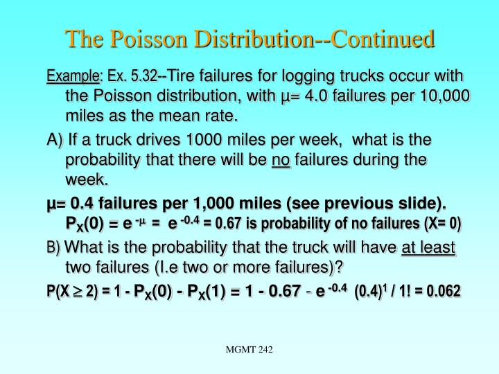 The Poisson Distribution--Continued