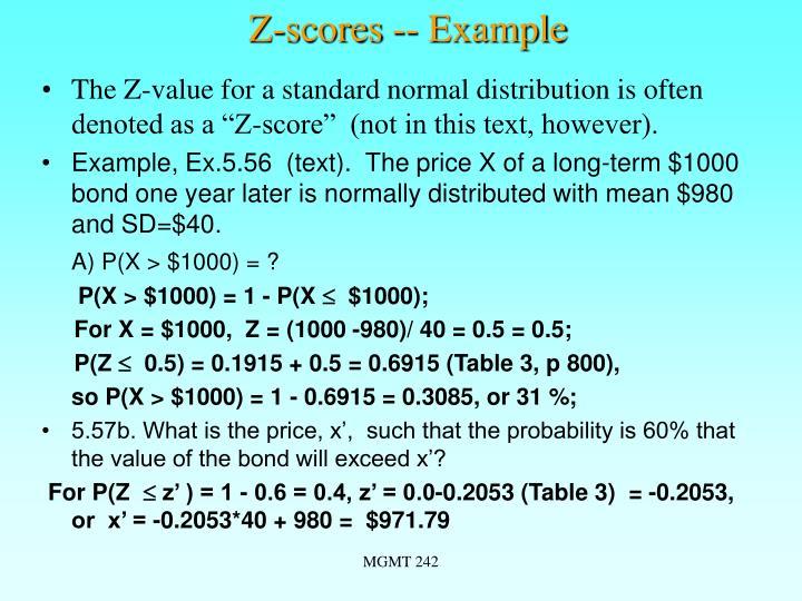 Z-scores -- Example
