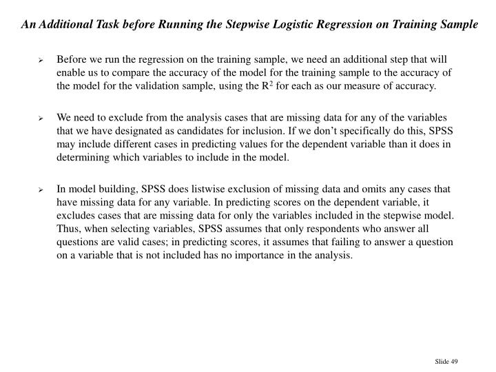 An Additional Task before Running the Stepwise Logistic Regression on Training Sample