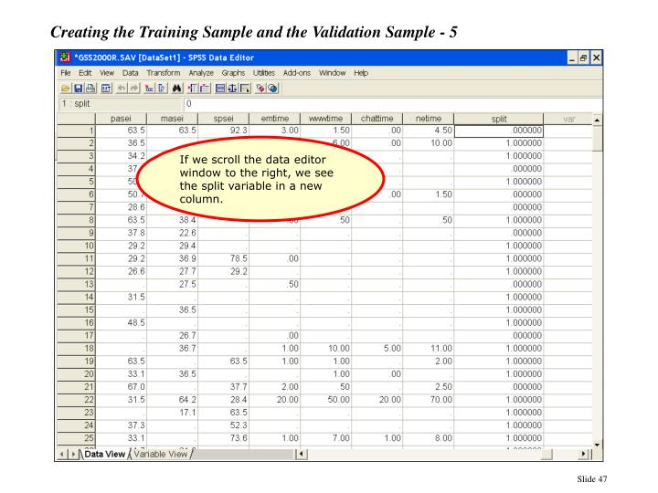 Creating the Training Sample and the Validation Sample - 5
