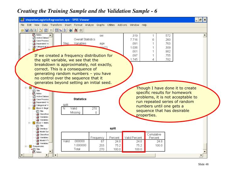 Creating the Training Sample and the Validation Sample - 6
