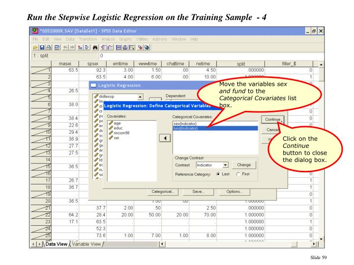 Run the Stepwise Logistic Regression on the Training Sample  - 4