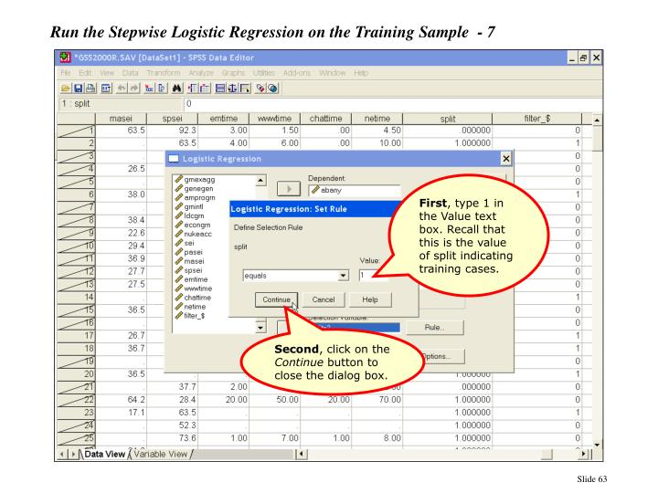 Run the Stepwise Logistic Regression on the Training Sample  - 7