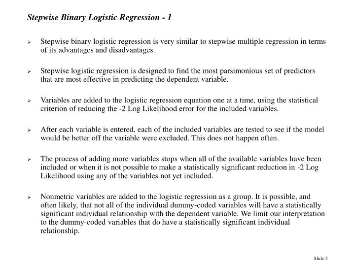 Stepwise binary logistic regression 1