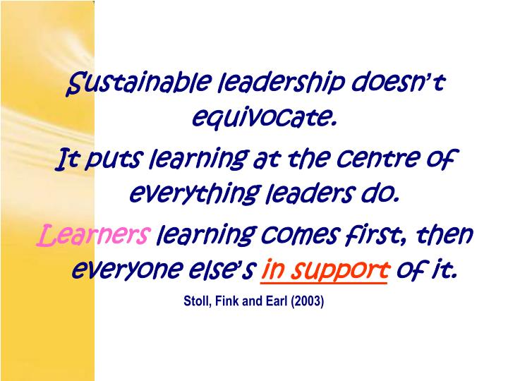 Sustainable leadership doesn