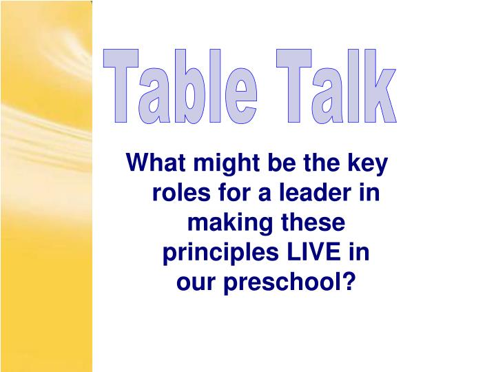 What might be the key roles for a leader in making these principles LIVE in our preschool?