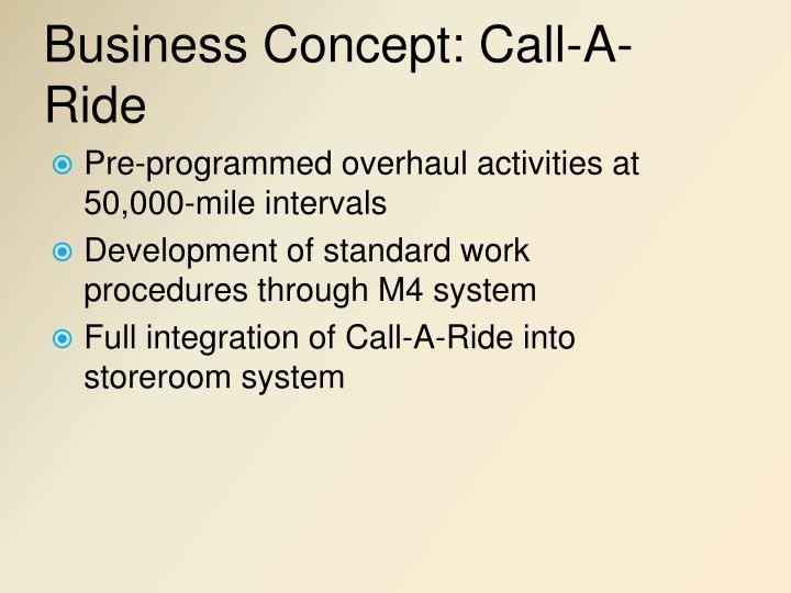 Business Concept: Call-A-Ride