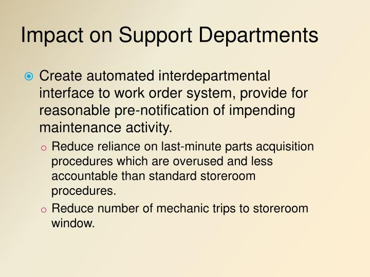 Impact on Support Departments
