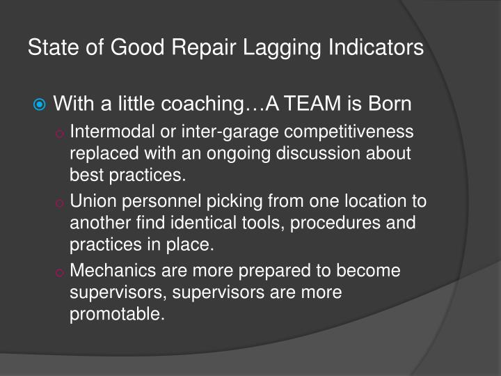 State of Good Repair Lagging Indicators