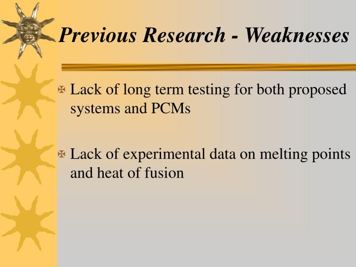 Previous Research - Weaknesses