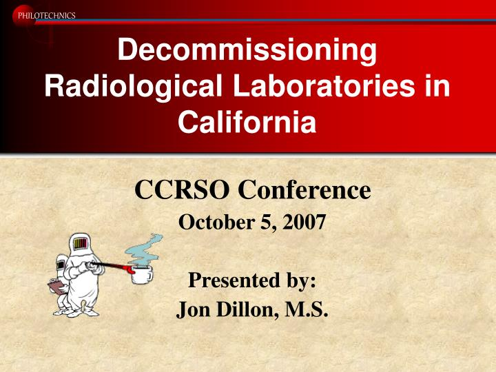 decommissioning radiological laboratories in california n.