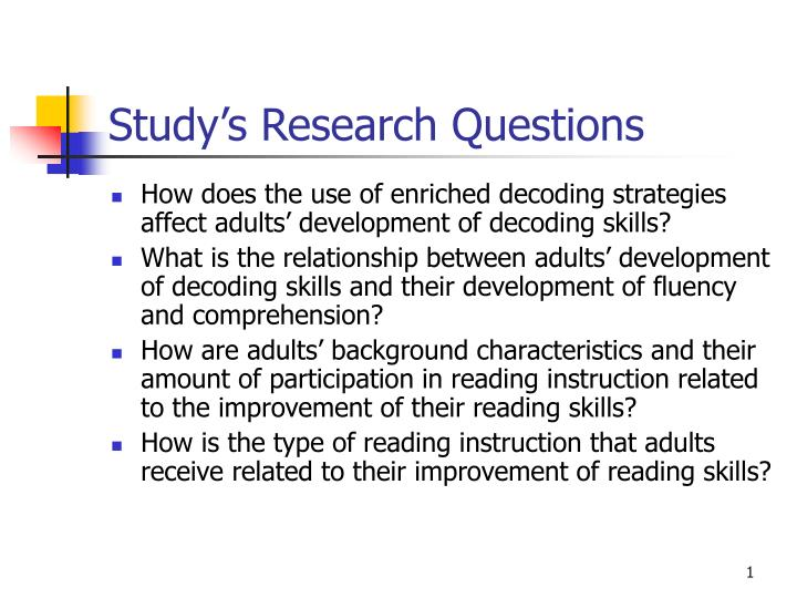 Study's Research Questions