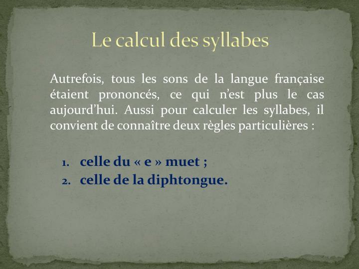 Le calcul des syllabes