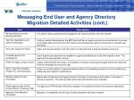 messaging end user and agency directory migration detailed activities cont