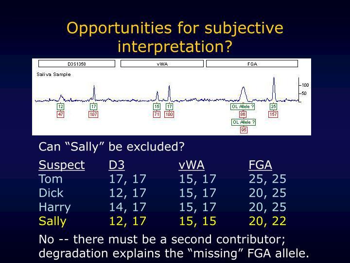Opportunities for subjective interpretation?