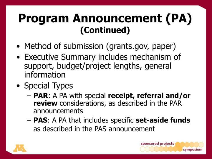 Program Announcement (PA)