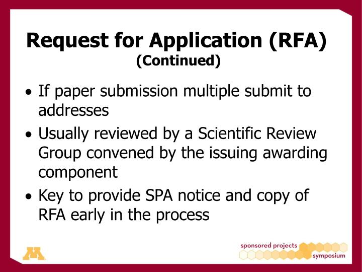 Request for Application (RFA)