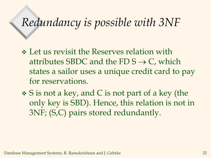 Redundancy is possible with 3NF
