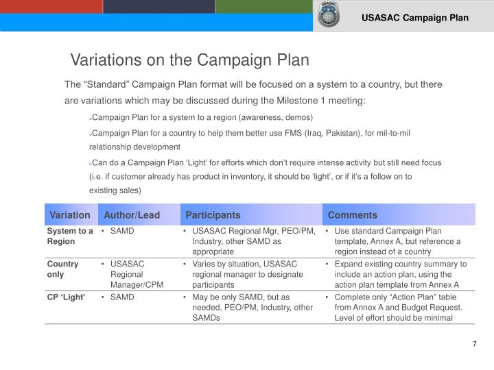 Variations on the Campaign Plan