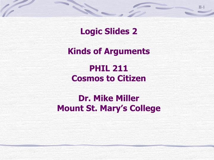 phil 211 cosmos to citizen dr mike miller mount st mary s college n.