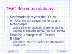 deac recommendations
