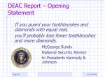 deac report opening statement